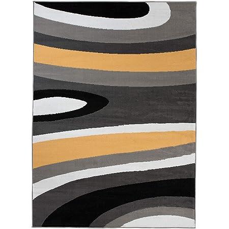 TAPISO Maya Tapis de Salon Moderne, pour séjour, Jaune, Gris, Vagues, Abstraits à Poils Courts, 120 x 170 cm