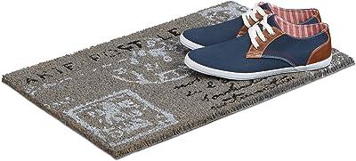 Relaxdays Paillasson Tapis d'entrée en fibre de coco motif carte postale lettre 40 x 60 cm tapis de plancher tapis d'accueil sol dessous antidérapant PVC caoutchouc essuie-pieds natte, anthracite