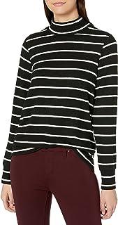 Lucky Brand Women's Long Sleeve Mock Neck Stipe Cloud Jersey Top