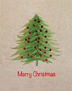 The Gift Wrap Company 15-Count Boxed Holiday Cards, Small, Kraft Tree