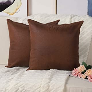 Mandioo Set of 2 Faux Leather Modern Square Throw Pillow Covers Cushion Cases Decorative for Couch Sofa Home Living Room 18 x 18 Inches Brown
