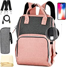 Nappy Bag,Rimposky Large Baby Bag,Multi-Functional Travel Back Pack,Anti-Water Maternity Diaper Bag Backpack Changing Bags with Insulated Pockets Stroller Straps and Built-in USB Charging Port