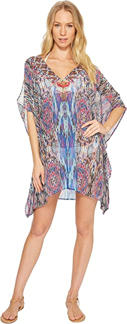 Laundry by Shelli Segal Abstract Feathers Tunic Cover-Up