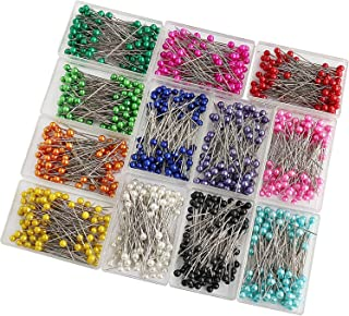 SUBANG 1200 Pieces Sewing Pins 38mm Multicolor Pearlized Head Pins for Dressmaking Jewelry Components Flower Decoration with Transparent Cases, 12 Colors