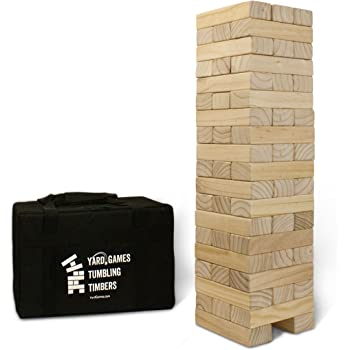 Yard Games Giant Tumbling Timbers with Carrying Case | Starts at 2.5-Feet Tall and Builds to Over 5-Feet | Made with Premium Pine Wood