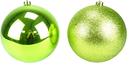 Christmas Concepts Pack of 2-200mm Lime Green Baubles - Shiny & Glitter Design - Giant Christmas Baubles