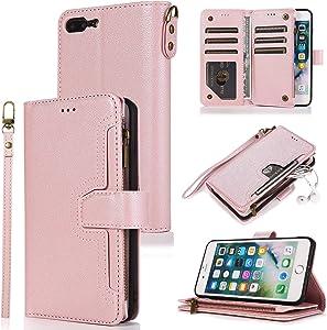 QLTYPRI Case for iPhone 7 Plus 8 Plus, Premium Leather Wallet Case Card Holder Kickstand Wrist Strap Magnetic Closure Large Capacity Zipper Purse for iPhone 7 Plus 8 Plus - Rose Gold