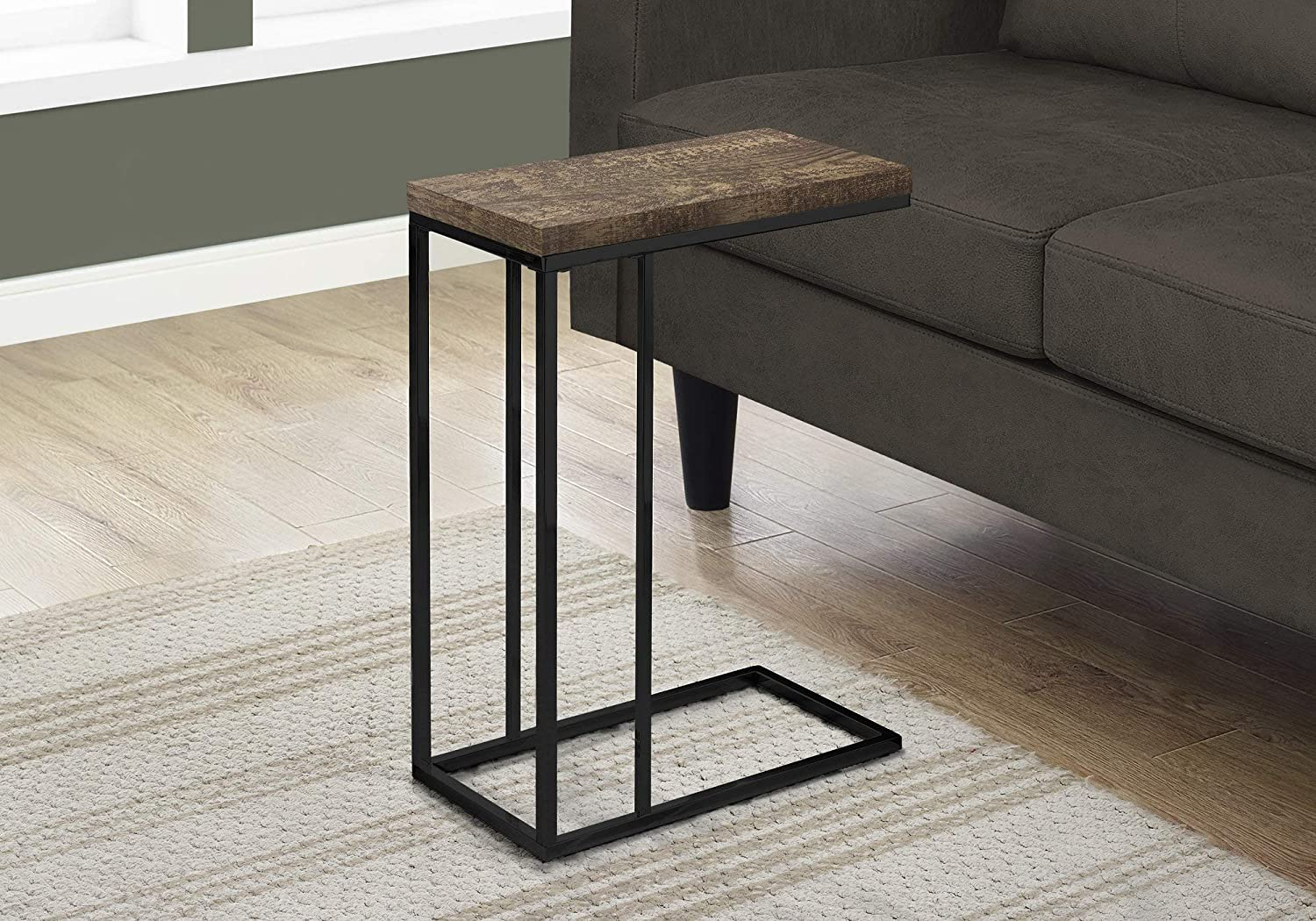Monarch Specialties I 3403 Brown Reclaimed Wood-Look Black Metal Accent, End, Snack Table