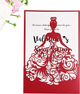 PONATIA 25PCS Laser Cut Crown Wedding Invitations Cards For Birthday Sweet 15 Quinceañera Party Invite, Wedding Bridal Engagement Invite (Red)