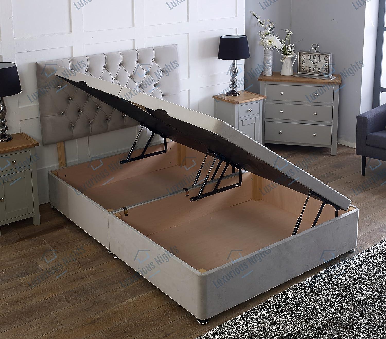 Buy Side Lift Open Ottoman Plush Velvet Storage Bed White, 21FT21 ...