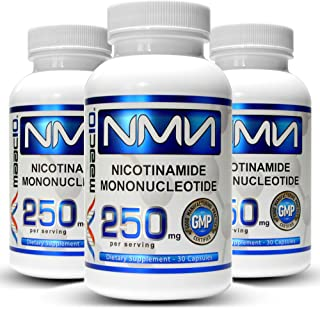 MAAC10 NMN 250mg Capsules (3-Pack) Stabilized Form Real Nicotinamide Mononucleotide Supplement.