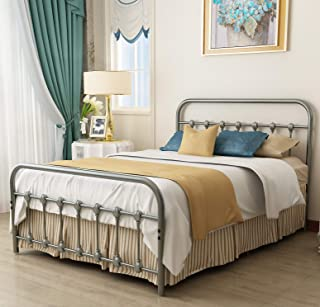 URODECOR Metal Bed Frame Full Size Headboard and Footboard The Country Style Iron-Art Double Bed The Metal Structure,Gray Silver.