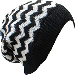 an Slouchy Beanie Hat Chevron Fashion Knit Cap Chic Zigzag Lightweight Unisex