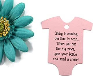 Baby is Coming Shower Favor Tags - Light Pink One Piece Shaped Gift Tags (Set of 40)