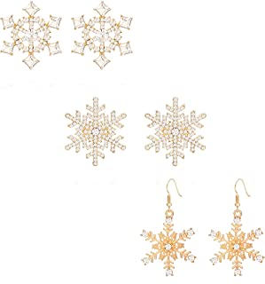 Winter Snowflake Flower Stud Earrings Hypoallergenic Snowflake Pierced Hook Dangle Earrings Set For Women