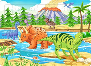 Yobooom Wood Jigsaw Puzzles 60 Pieces for Kids Ages 4-8 The Age of Dinosaur