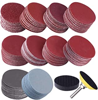 Iycorish 200Pcs 50mm 2 Inch Sander Disc Sanding Discs 80-3000 Grit Paper with 1Inch Abrasive Polish Pad Plate + 1/4 Inch S...