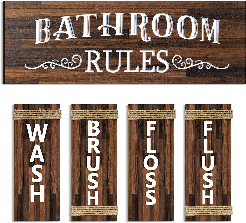 5 Pieces Bathroom Wall Art Hanging Signs Wash Brush Floss Flush Farmhouse Bathroom Wood Signs Bathroom Wall Decor Wood Plaque Rustic Vintage Bathroom Rules Sign for Laundry Room Bathroom (Brown)