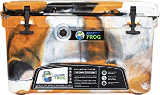 Frosted Frog Orange White and Black Camo 45 Quart Ice Chest Heavy Duty High Performance Roto-Molded Commercial Grade Insulated Cooler