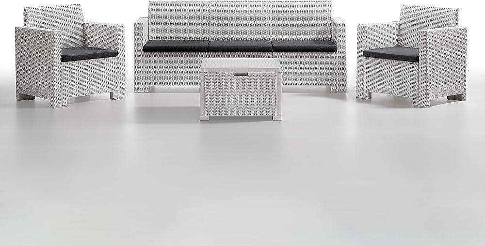 Bica,set nebraska 3 ,salottino divano poltrone tavolino, polipropilene 9068