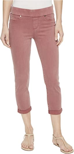 Liverpool - Sienna Pull-On Rolled Capris in Slub Stretch Twill Roan Rouge