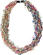 CTM Women's Multi-Color Layered Scarf Necklace with Magnetic Closure