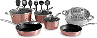 OrGREENiC Rose Hammered Cookware Collection - 16 Piece Set with Lids - Non-Stick Ceramic for Even Heating   Safe for Dishw...