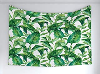 Ambesonne Leaf Tapestry, Romantic Holiday Island Hawaiian Banana Trees Watercolored Image, Fabric Wall Hanging Decor for Bedroom Living Room Dorm, 60