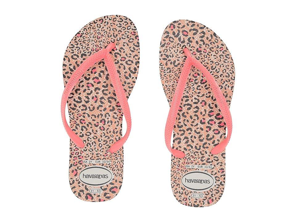 Havaianas Kids Slim Animals Flip Flops (Toddler/Little Kid/Big Kid) (White/Coral New) Girls Shoes