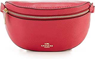 Coach Belt Bag Bright Cherry Red Zip Pouch Beltbag Leather New