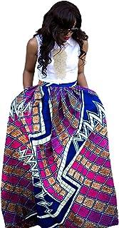 فستان طويل بنمط الأزهار الأفريقية للنساء بخصر عالٍ وتنانير طويلة مع جيوب