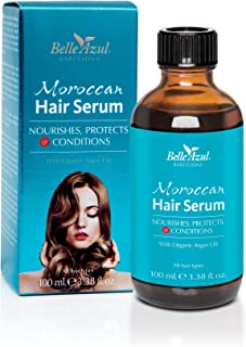 Belle Azul Moroccan Hair Serum - Repairing Anti-Frizz Serum. FREE FROM Phthalates & Parabens with ORGANIC ARGAN OIL. 3.38 oz.