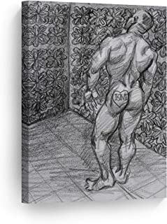 Smile Art Design Dancer from The Dance by Kenney Mencher Canvas Print Naked Man Portrait Crayon Painting LGBT Nude Gay Art Living Room Decor Bedroom Wall Art Ready to Hang - 28x19