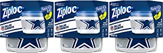 Ziploc Brand NFL Dallas Cowboys Twist 'n Loc Containers, Small, 2 ct, 3 Pack
