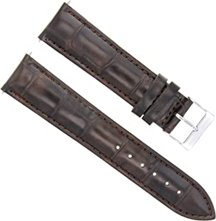 LEATHER WATCH STRAP BAND FOR BAUME MERCIER CAPELAND CLASSIMA 22/20 DARK BROWN