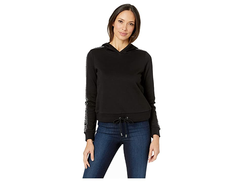 MICHAEL Michael Kors Logo Tape Sleeve Hoodie (Black) Women