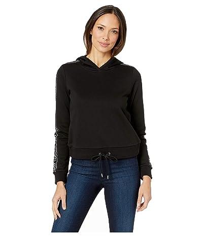 MICHAEL Michael Kors Logo Tape Sleeve Hoodie (Black) Women