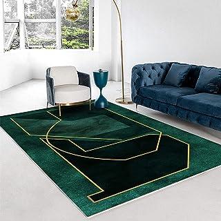 Oukeep Homestay Style Tapis Vert Moderne Minimaliste Léger Luxe Abstrait Chambre Salon Table Basse Tapis Épais Antidérapan...