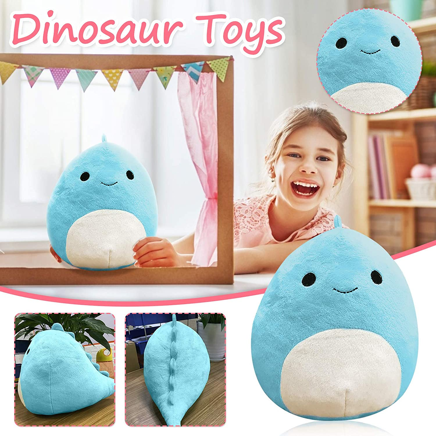 Black 8in Plushie Cute Dinosaur Stuffed Animals Plush Toy Throw Pillows Doll Plush Baby Dinosaur Stuffed Toy Soft Lumbar Back Cushion Easter Halloween Christmas Birthday Gift for Kids and Adults