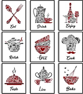 Kitchen Decor Posters Red Vintage Maroon Grey Wall Art Poster Prints Motivational Inspirational Sayings Wall Decor Signs Sets for Kitchen Dining Room Restaurant, Unframed, Set of 9, 8 x 10 Inch