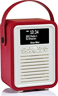VQ Retro Mini DAB+ Digital Radio with AM/FM, Bluetooth & Alarm Clock – Red