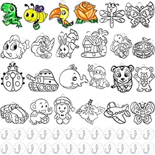 WILLBOND 24 Pieces Assorted Sun Catcher Kit Suncatchers Craft Art Window Suncatchers Kits with 24 Pieces Suction Cups for ...