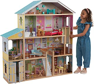 KidKraft KidKraft Majestic Mansion Wooden Dollhouse with 34-Piece Accessories, Working Elevator and Garage ,Gift for Ages 3+