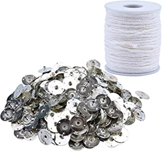 Livder 200 Feet Candle Wick and 300 Pieces Metal Candle Wick Metal Tabs for Candle Making