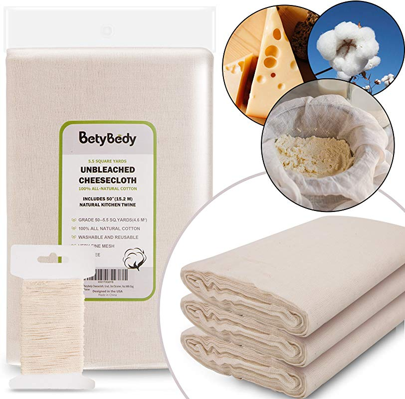 BetyBedy Cheesecloth Grade 50 5 5 Yards 49 5 Sq Feet Unbleached Cotton Fabric With 50 Feet Cooking Twine Washable And Reusable Strainer For Cheesemaking Food Filter Strainer Nut Milk Bag