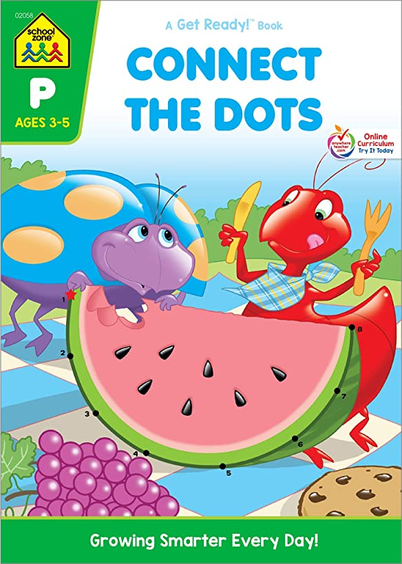 School Zone - Connect the Dots Workbook - Ages 3 to 5, Preschool to Kindergarten, Dot-to-Dots, Counting, Number Puzzles, Numbers 1-10, Coloring, and More (School Zone Get Ready!? Book Series)