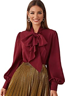 Romwe Women's Elegant Bow Tie Lantern Long Sleeve Boho Chiffon Blouse Top Tee