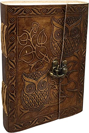 Large Vintage Owl Embossed Blank Book Sketchbook Notebook Leather Journal/Instagram Photo Album (Handmade Paper) - Coptic Bound with Lock Closure by Aislinn Leather (Owl Emboss - Tan Color)