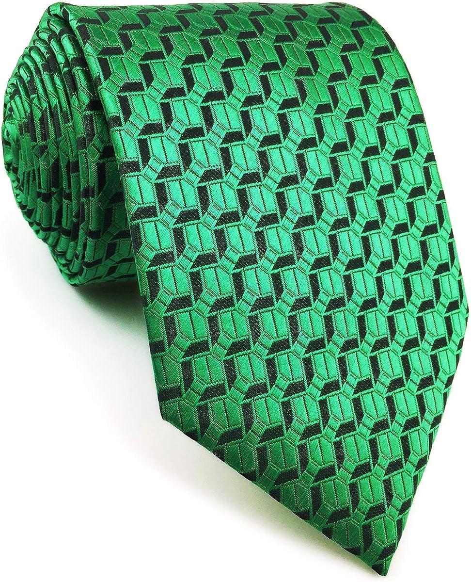 S&W SHLAX&WING Mens Tie Necktie Emerald Green Solid Color