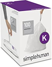 simplehuman Code K Custom Fit Liners, Tall Kitchen Drawstring Trash Bags, 35 - 45 Liter / 9-12 Gallon, 100-Count Box